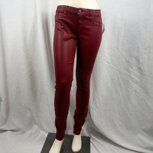 Red Leather Rich & Skinny Jeans